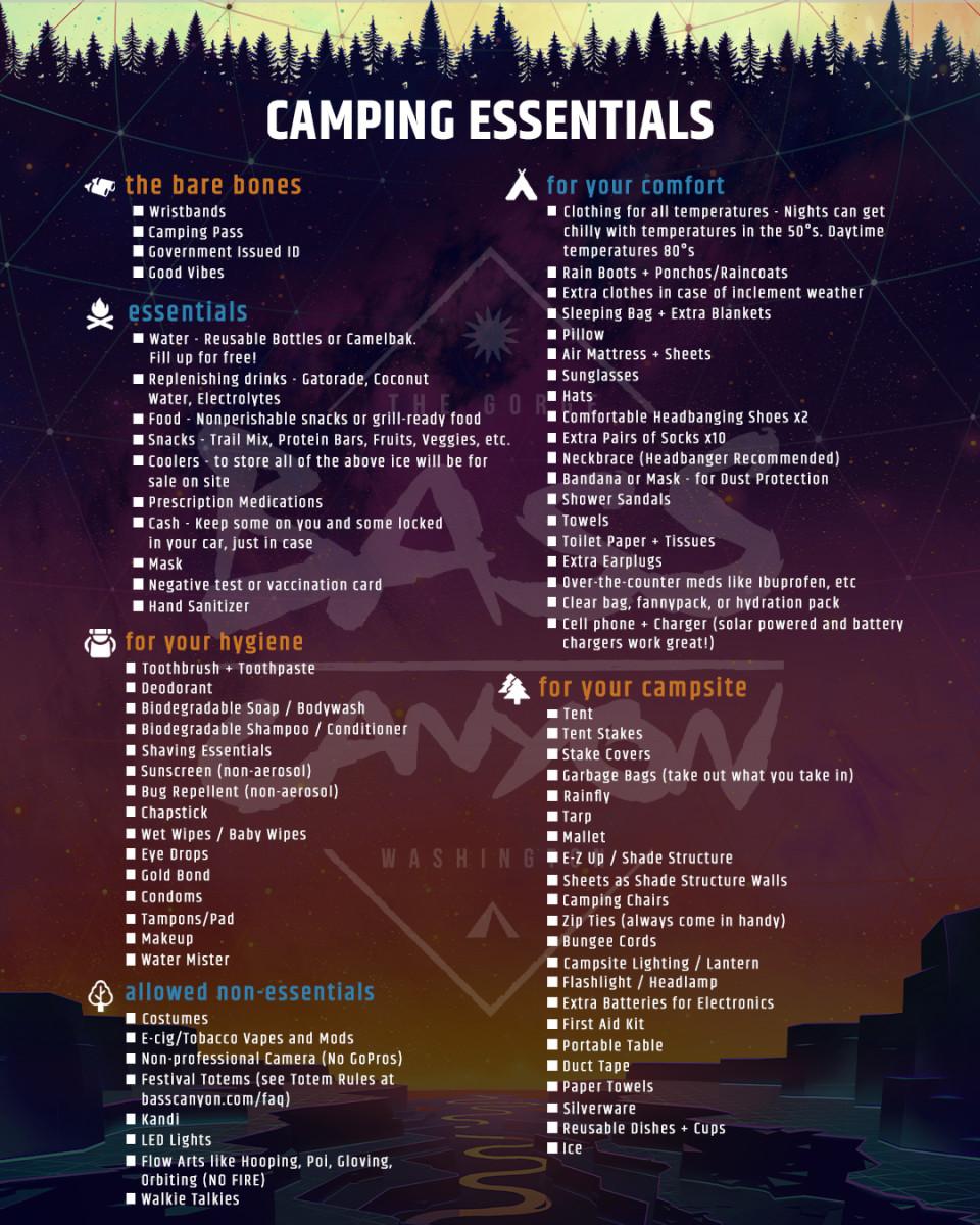 Bass Canyon Camping List