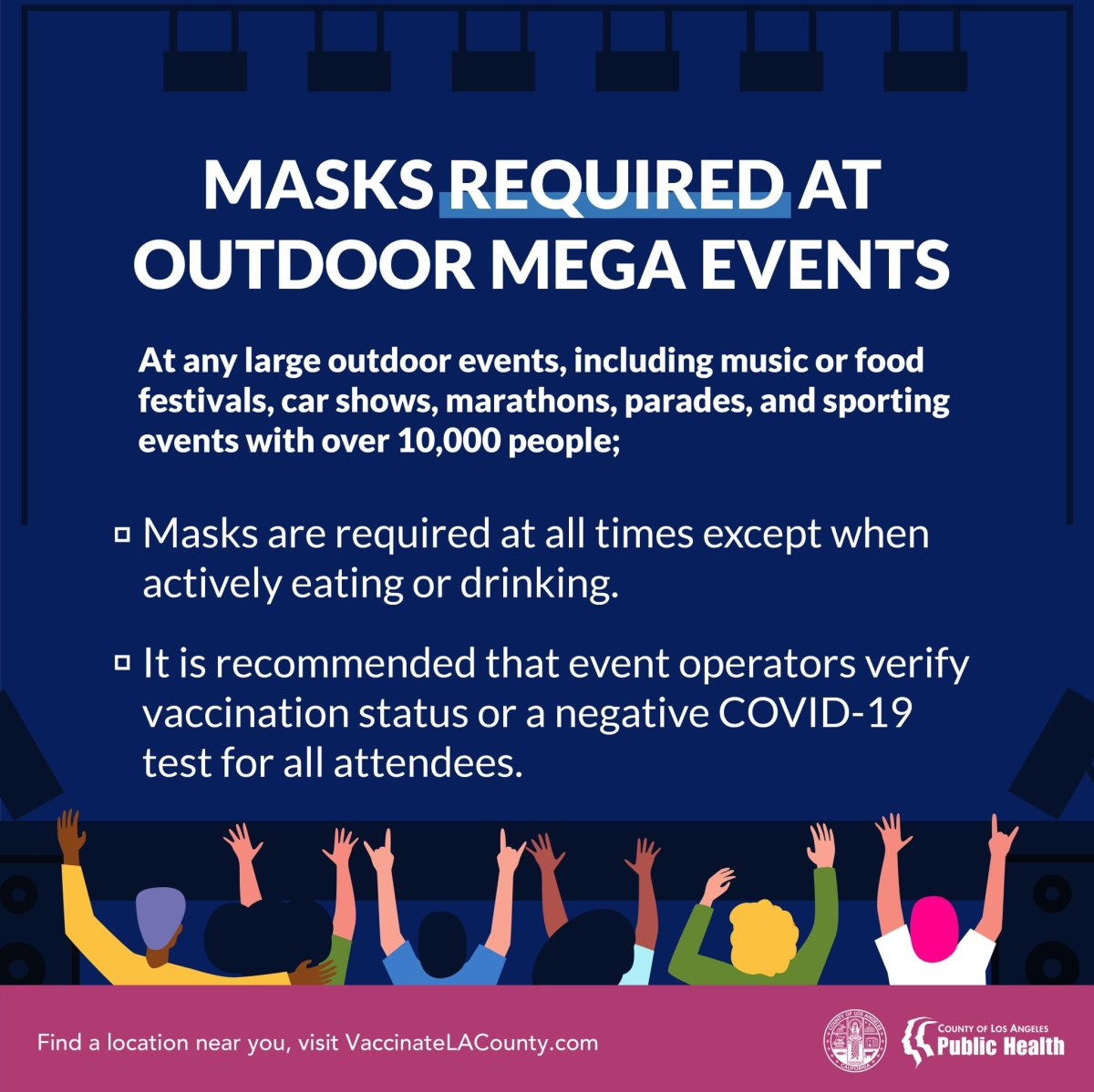 Los Angeles County will now require masks at any large outdoor event with over 10,000 attendees.