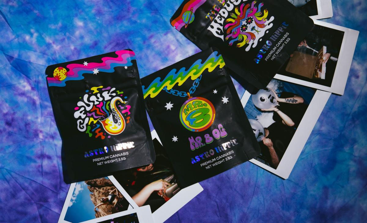Packaging of GRiZ's Astro Hippie cannabis line.