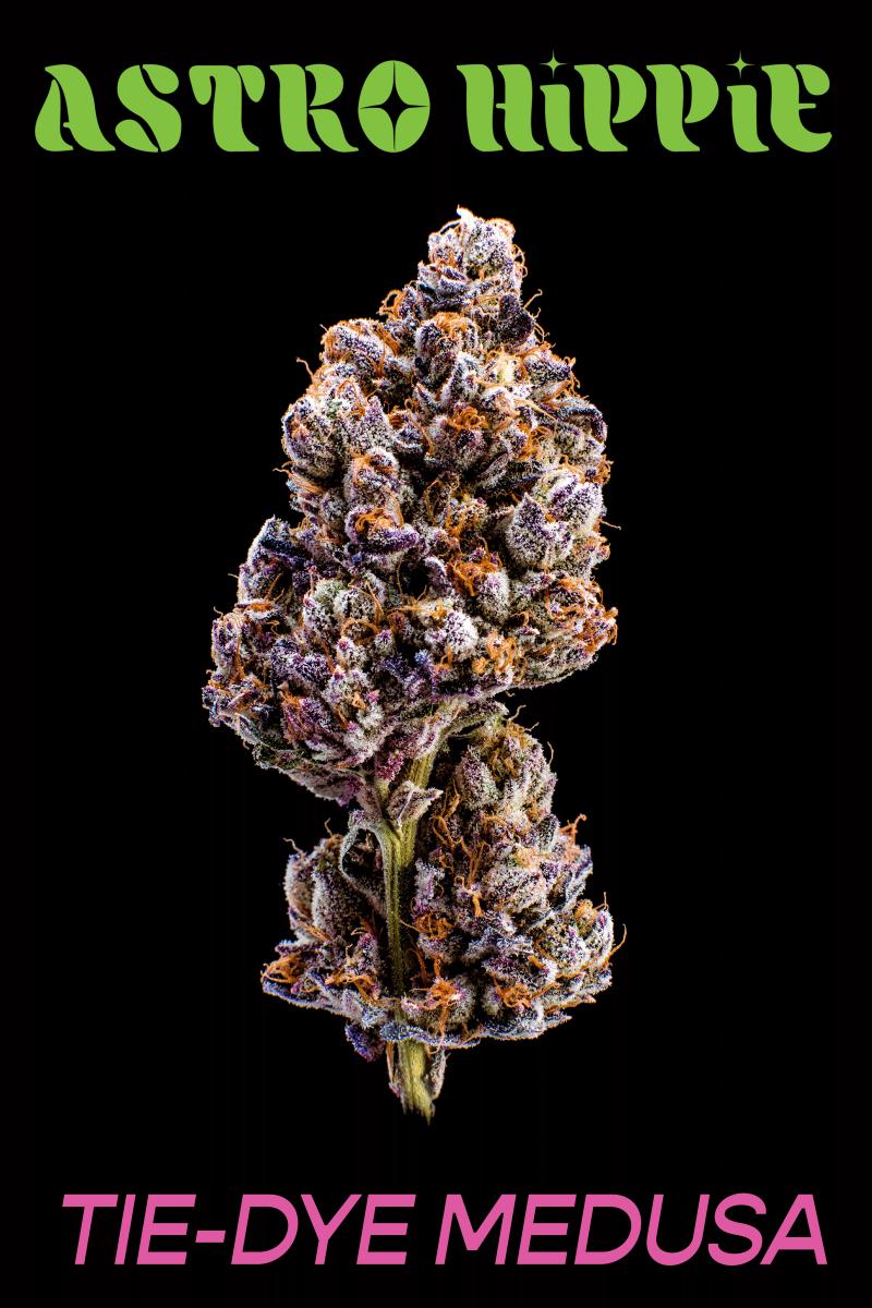 "The ""Tie-Dye Medusa"" strain of GRiZ's new Astro Hippie cannabis line."