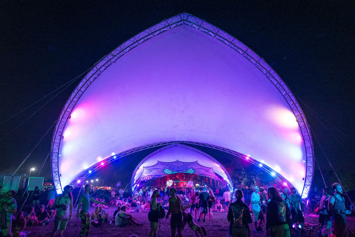 Nestled between the Starshine Stage and the Illumination Woods were two brightly lit domes that housed hundreds of fans over the weekend for a cool hangout spot.