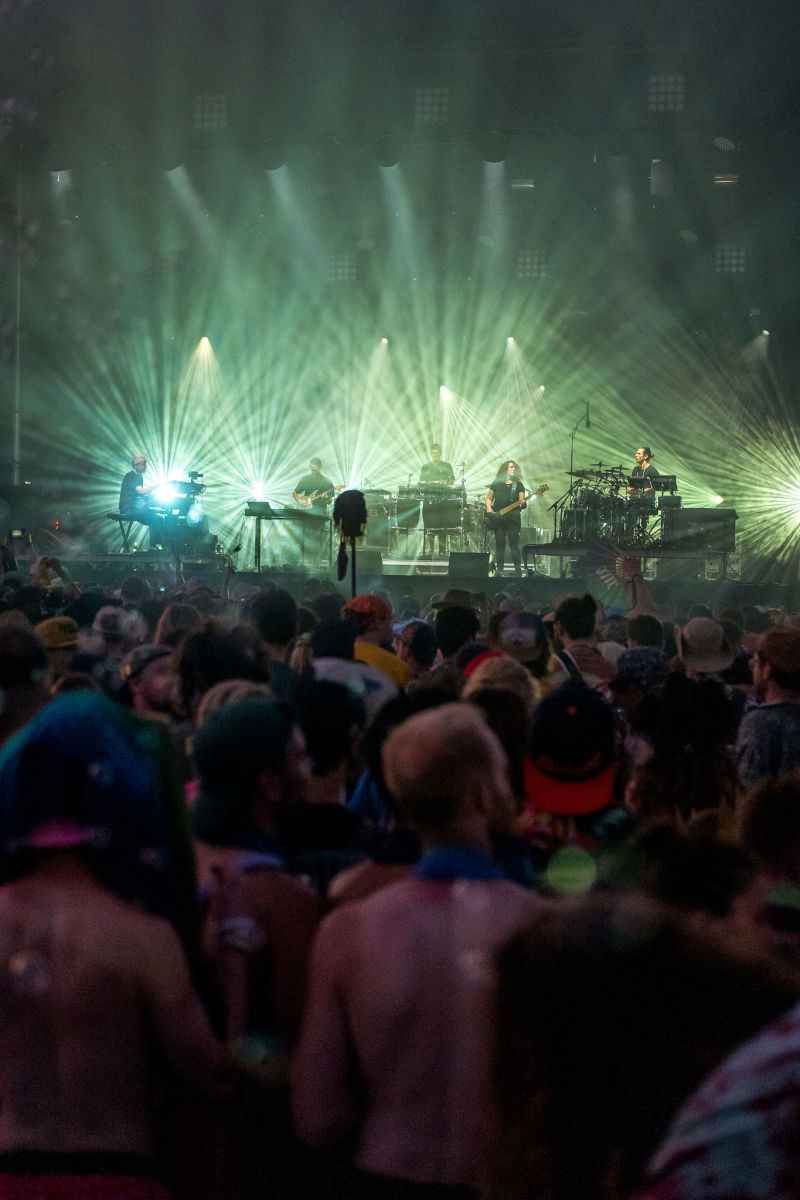 STS9 playing a sparkling Saturday sunset set on the Sunshine Stage.