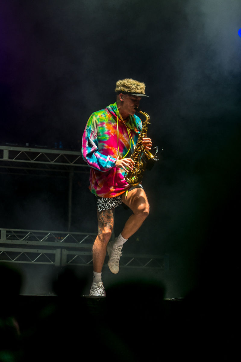 GRiZ serenading the biggest crowd of the weekend with his sultry saxophone.
