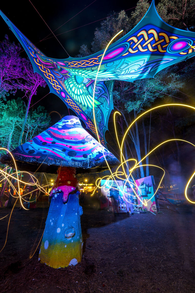 The Illumination Woods lit up into a psychedelic playground each night, full of exploratory elements and interactive scenes.