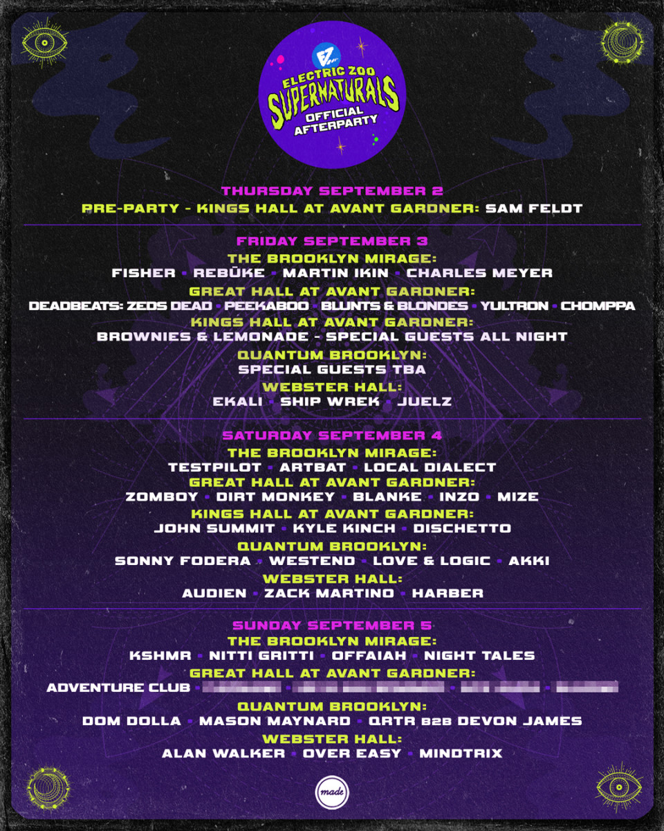 Electric Zoo Festival 2021 After Party Lineup