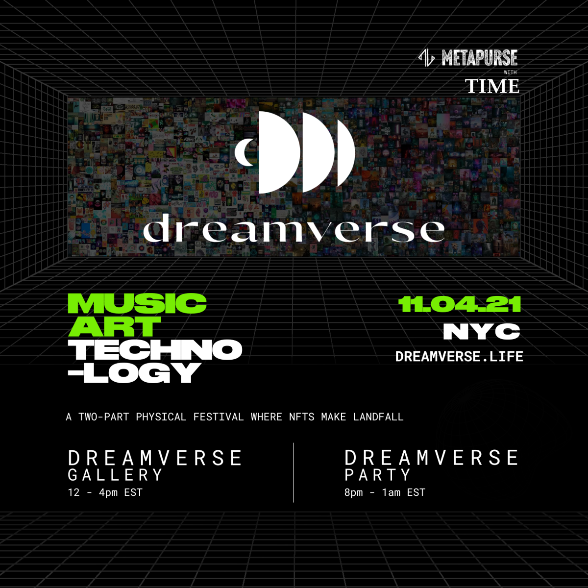Dreamverse is part NFT gallery, part music festival in a one-of-a-kind hybrid physical and digital experience.