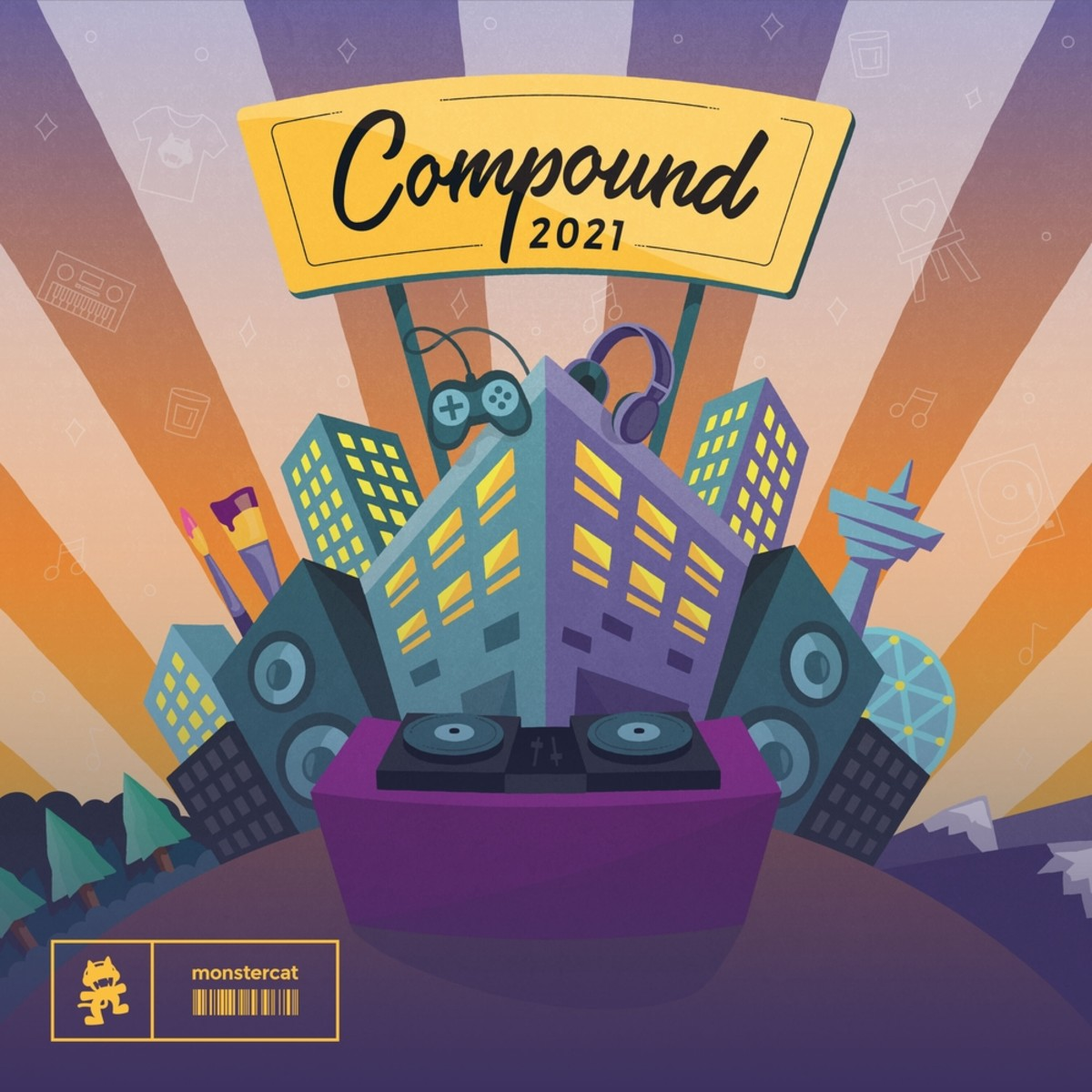 """Artwork for Monstercat and Westwood Recordings' """"Compound 2021"""" compilation."""